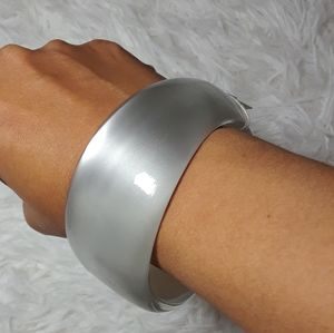 Thick Thru Thin Transparent Clouds Metallic Bangle